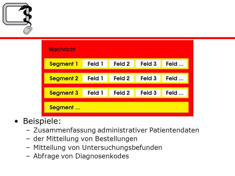 Beispiele: –Zusammenfassung administrativer Patientendaten –der Mitteilung von Bestellungen –Mitteilung von Untersuchungsbefunden –Abfrage von Diagnosenkodes