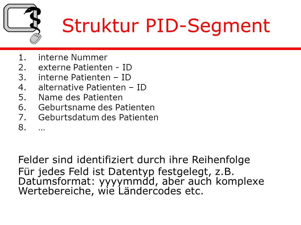 Struktur PID-Segment 1.interne Nummer 2.externe Patienten - ID 3.interne Patienten – ID 4.alternative Patienten – ID 5.Name des Patienten 6.Geburtsname des Patienten 7.Geburtsdatum des Patienten 8.… Felder sind identifiziert durch ihre Reihenfolge Für jedes Feld ist Datentyp festgelegt, z.B.