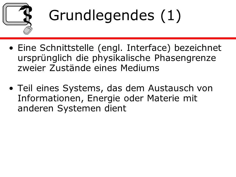 Grundlegendes (2) Systeme können nur dann kommunizieren, wenn ihre Schnittstellen aufeinander passen o Schnittstellen müssen genau spezifiziert sein.