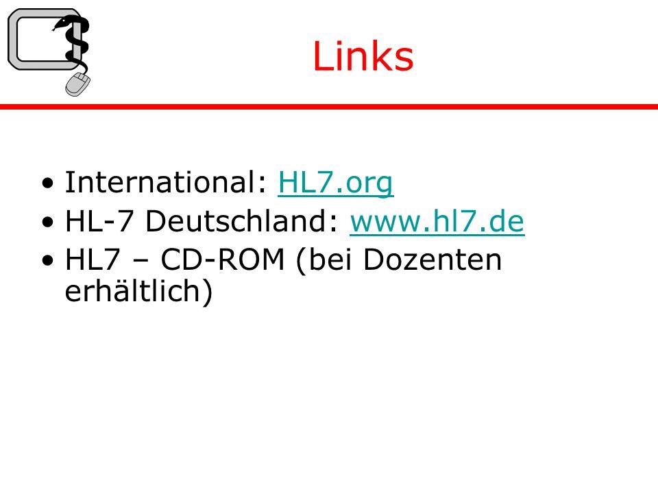 Links International: HL7.orgHL7.org HL-7 Deutschland: www.hl7.dewww.hl7.de HL7 – CD-ROM (bei Dozenten erhältlich)