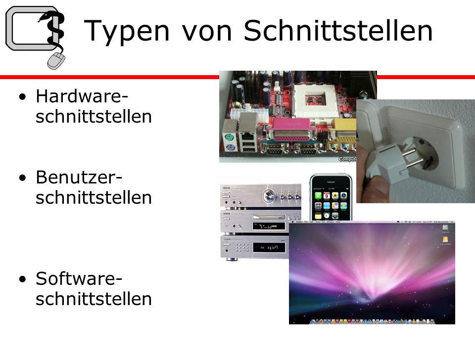Typen von Schnittstellen Hardware- schnittstellen Benutzer- schnittstellen Software- schnittstellen