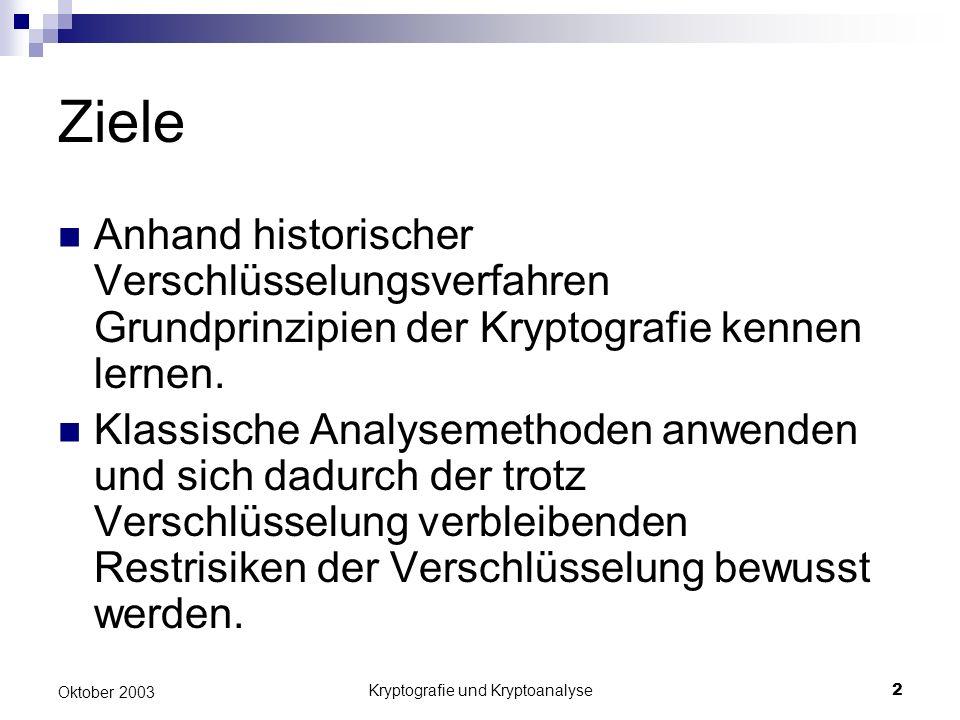 Kryptografie und Kryptoanalyse2 Oktober 2003 Ziele Anhand historischer Verschlüsselungsverfahren Grundprinzipien der Kryptografie kennen lernen.