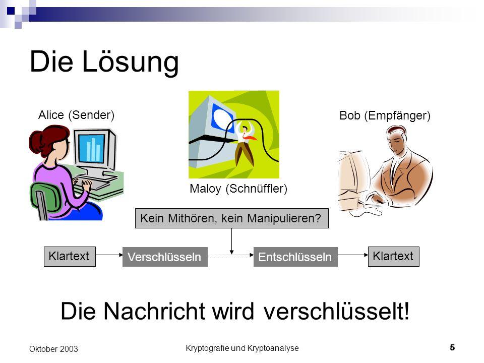 Kryptografie und Kryptoanalyse5 Oktober 2003 Die Lösung Klartext Alice (Sender) Bob (Empfänger) Maloy (Schnüffler) Kein Mithören, kein Manipulieren.