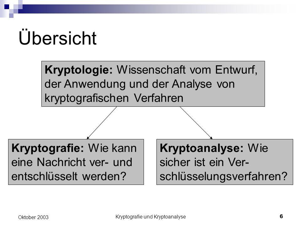 Kryptografie und Kryptoanalyse6 Oktober 2003 Übersicht Kryptoanalyse: Wie sicher ist ein Ver- schlüsselungsverfahren? Kryptografie: Wie kann eine Nach