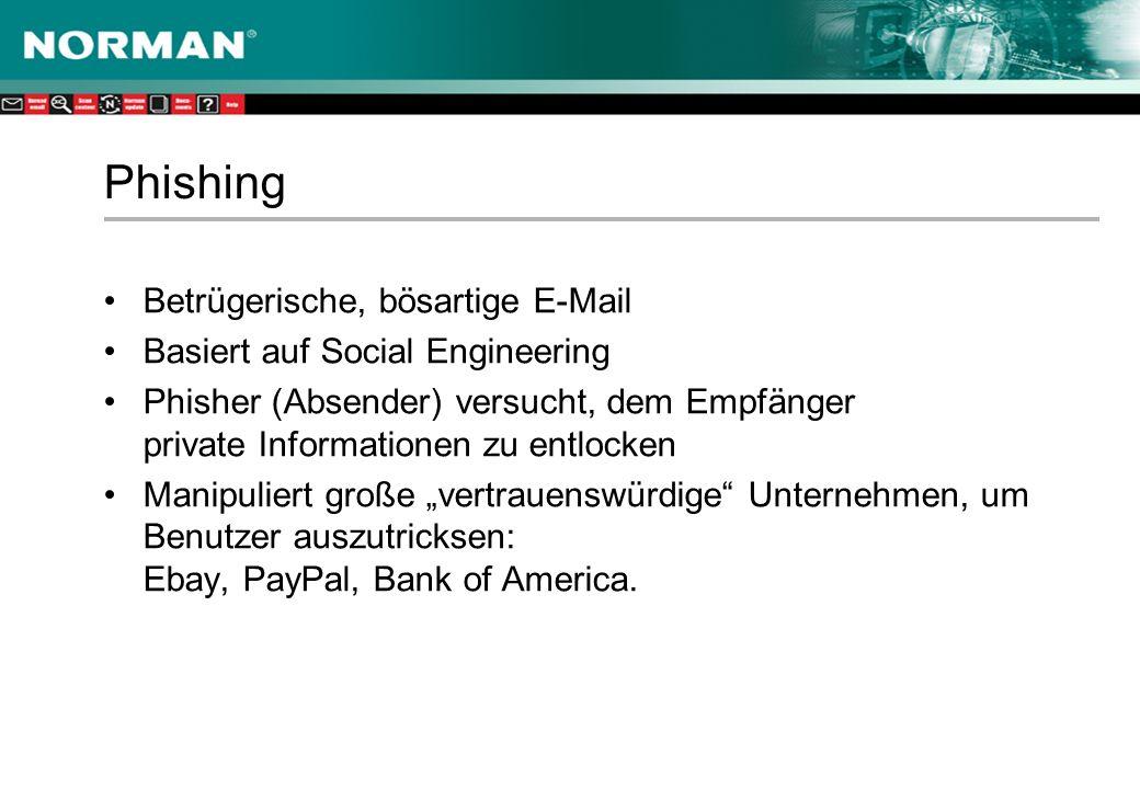 Phishing Betrügerische, bösartige E-Mail Basiert auf Social Engineering Phisher (Absender) versucht, dem Empfänger private Informationen zu entlocken Manipuliert große vertrauenswürdige Unternehmen, um Benutzer auszutricksen: Ebay, PayPal, Bank of America.