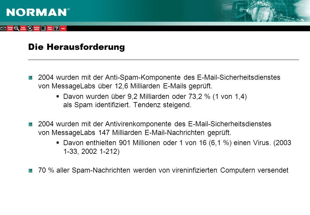 Tricks von Spammern Ändern von Kopfzeilen –Ändern von Routingdaten, um die tatsächliche Quelle der E-Mail zu verbergen –Unrechtmäßiges Aneignen der Absenderadresse, oft durch Verwenden einer überprüften E-Mail-Adresse aus derselben Domäne wie der des Empfängers HTML-Cloaking –Moderne E-Mail-Clients zeigen E-Mails in der Regel im HTML-Format an –Mit HTML-Code lassen sich in den E-Mails enthaltene Wörter und Muster verbergen Weiße Schrift –Abwandlung von HTML-Cloaking, wo bestimmte Sätze in weißer Schrift auf weißem Hintergrund geschrieben werden In Grafik eingebetteter Text –Die E-Mail besteht aus einem Bild (mit Wörtern) und einem URL Zufällige Serialisierung –Verwenden eines Randomizers beim Erstellen einer E-Mail, damit sich jede Spam- Nachricht geringfügig von anderen unterscheidet