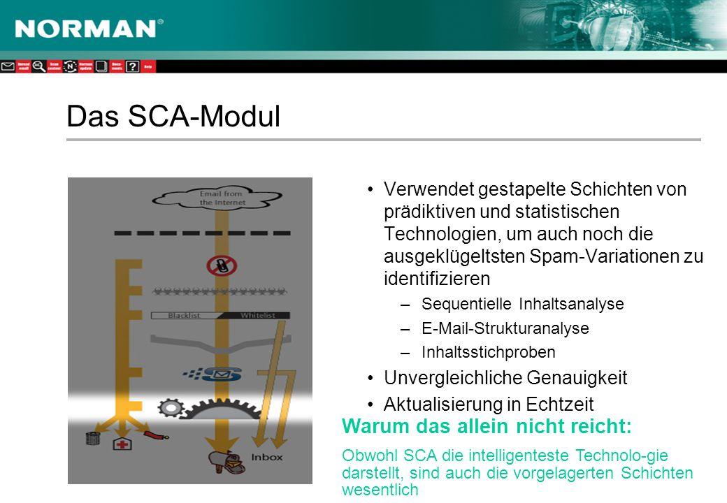 Das SCA-Modul Verwendet gestapelte Schichten von prädiktiven und statistischen Technologien, um auch noch die ausgeklügeltsten Spam-Variationen zu identifizieren –Sequentielle Inhaltsanalyse –E-Mail-Strukturanalyse –Inhaltsstichproben Unvergleichliche Genauigkeit Aktualisierung in Echtzeit Warum das allein nicht reicht: Obwohl SCA die intelligenteste Technolo-gie darstellt, sind auch die vorgelagerten Schichten wesentlich