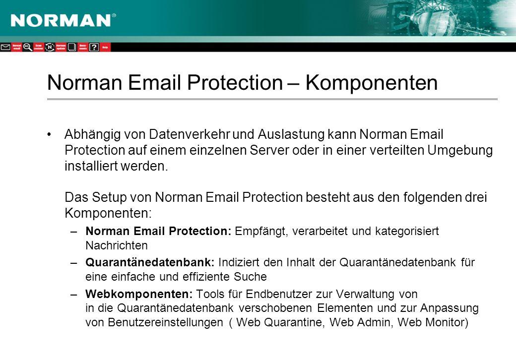 Norman Email Protection – Komponenten Abhängig von Datenverkehr und Auslastung kann Norman Email Protection auf einem einzelnen Server oder in einer verteilten Umgebung installiert werden.
