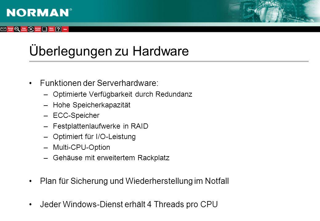 Überlegungen zu Hardware Funktionen der Serverhardware: –Optimierte Verfügbarkeit durch Redundanz –Hohe Speicherkapazität –ECC-Speicher –Festplattenlaufwerke in RAID –Optimiert für I/O-Leistung –Multi-CPU-Option –Gehäuse mit erweitertem Rackplatz Plan für Sicherung und Wiederherstellung im Notfall Jeder Windows-Dienst erhält 4 Threads pro CPU