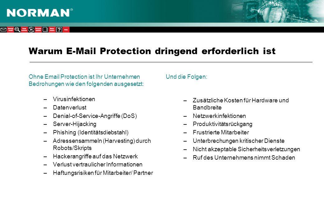 Warum E-Mail Protection dringend erforderlich ist Ohne Email Protection ist Ihr Unternehmen Bedrohungen wie den folgenden ausgesetzt: –Virusinfektionen –Datenverlust –Denial-of-Service-Angriffe (DoS) –Server-Hijacking –Phishing (Identitätsdiebstahl) –Adressensammeln (Harvesting) durch Robots/Skripts –Hackerangriffe auf das Netzwerk –Verlust vertraulicher Informationen –Haftungsrisiken für Mitarbeiter/ Partner Und die Folgen: –Zusätzliche Kosten für Hardware und Bandbreite –Netzwerkinfektionen –Produktivitätsrückgang –Frustrierte Mitarbeiter –Unterbrechungen kritischer Dienste –Nicht akzeptable Sicherheitsverletzungen –Ruf des Unternehmens nimmt Schaden