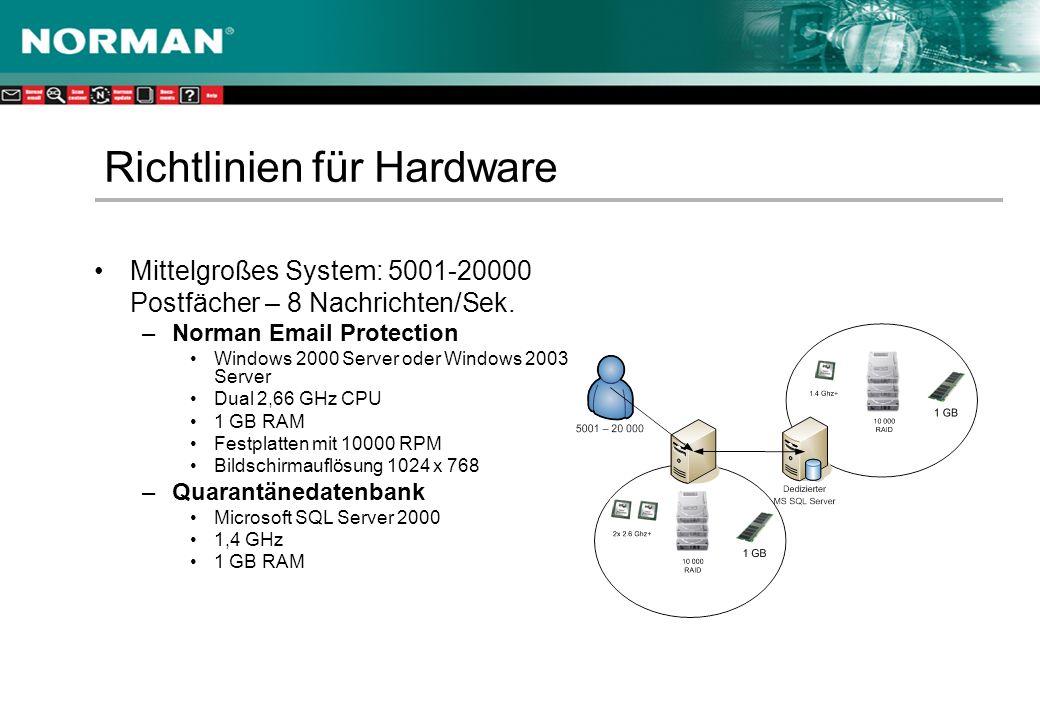 Mittelgroßes System: 5001-20000 Postfächer – 8 Nachrichten/Sek.