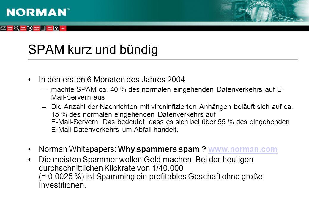 SPAM kurz und bündig In den ersten 6 Monaten des Jahres 2004 –machte SPAM ca.
