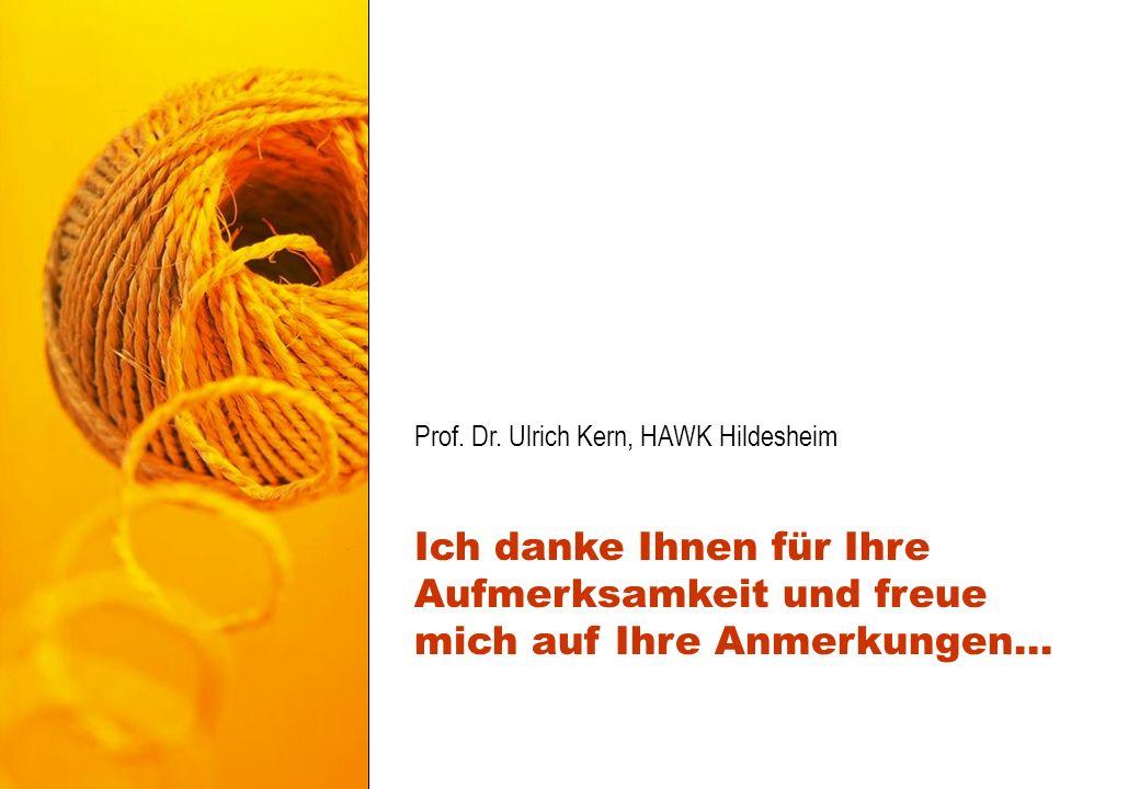 Prof. Dr. Ulrich Kern, HAWK Hildesheim Ich danke Ihnen für Ihre Aufmerksamkeit und freue mich auf Ihre Anmerkungen...