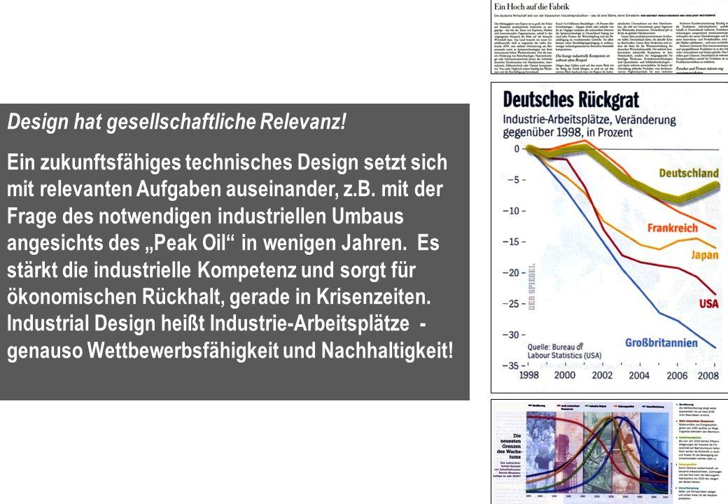 4 Design hat gesellschaftliche Relevanz! Ein zukunftsfähiges technisches Design setzt sich mit relevanten Aufgaben auseinander, z.B. mit der Frage des