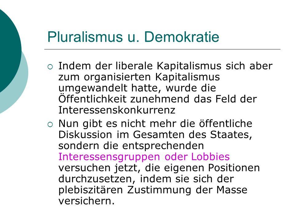 Pluralismus u. Demokratie Indem der liberale Kapitalismus sich aber zum organisierten Kapitalismus umgewandelt hatte, wurde die Öffentlichkeit zunehme