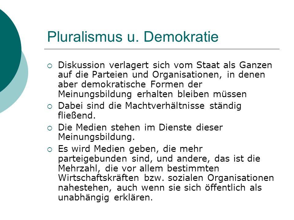 Pluralismus u. Demokratie Diskussion verlagert sich vom Staat als Ganzen auf die Parteien und Organisationen, in denen aber demokratische Formen der M