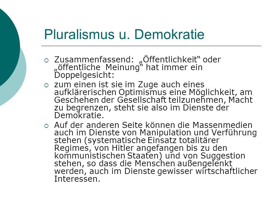 Pluralismus u. Demokratie Zusammenfassend: Öffentlichkeit oder öffentliche Meinung hat immer ein Doppelgesicht: zum einen ist sie im Zuge auch eines a