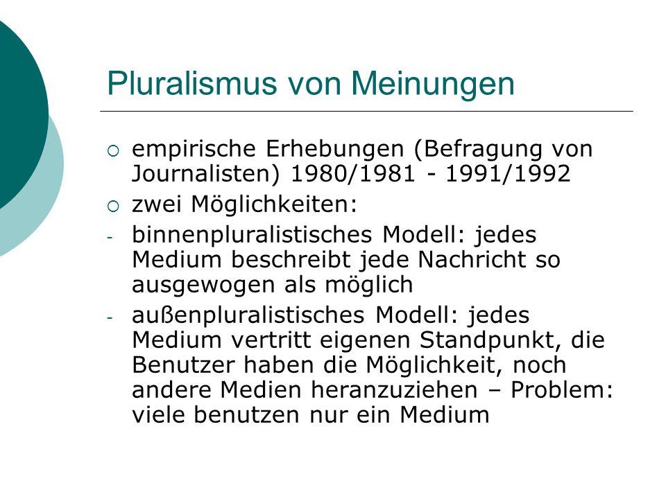 Pluralismus von Meinungen empirische Erhebungen (Befragung von Journalisten) 1980/1981 - 1991/1992 zwei Möglichkeiten: - binnenpluralistisches Modell: