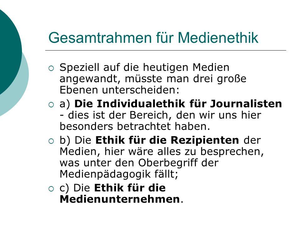 Gesamtrahmen für Medienethik Speziell auf die heutigen Medien angewandt, müsste man drei große Ebenen unterscheiden: a) Die Individualethik für Journa