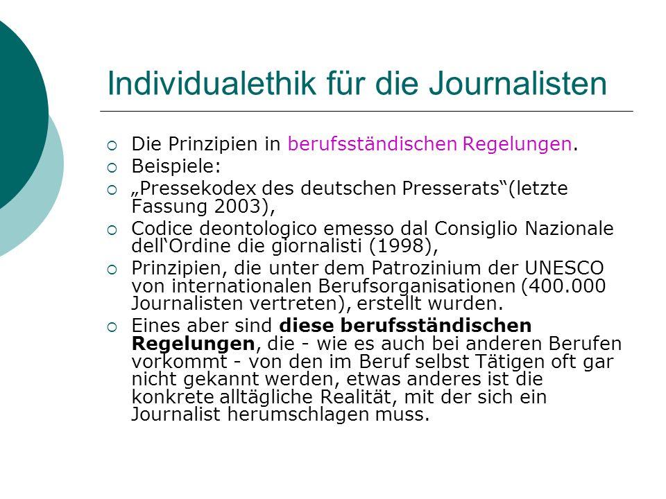 Individualethik für die Journalisten Die Prinzipien in berufsständischen Regelungen. Beispiele: Pressekodex des deutschen Presserats(letzte Fassung 20