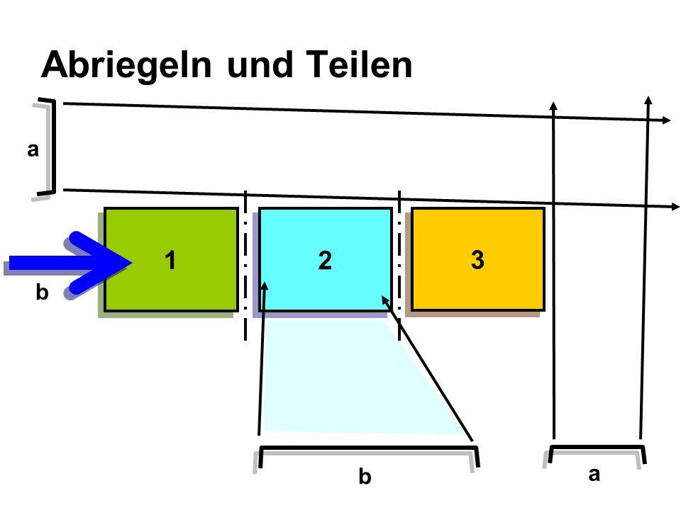 Abriegeln und Teilen 1 1 2 2 3 3 a a b b