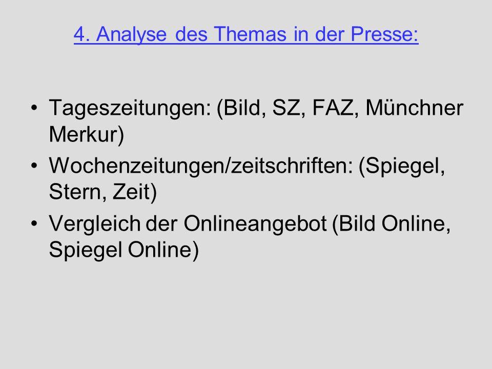4. Analyse des Themas in der Presse: Tageszeitungen: (Bild, SZ, FAZ, Münchner Merkur) Wochenzeitungen/zeitschriften: (Spiegel, Stern, Zeit) Vergleich