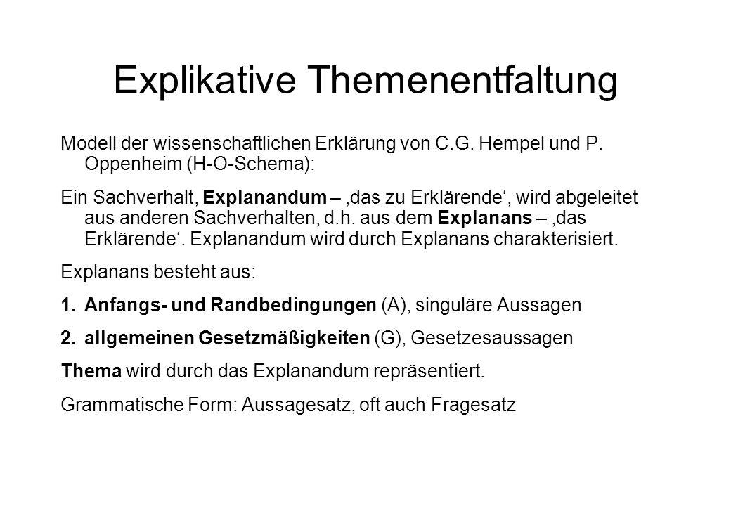 Explikative Themenentfaltung Modell der wissenschaftlichen Erklärung von C.G.