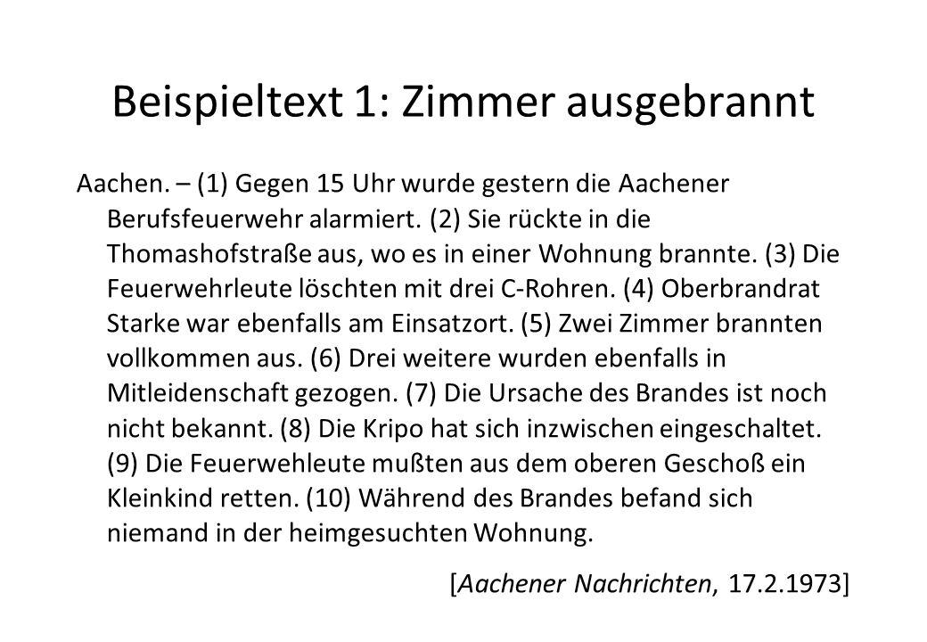 Beispieltext 1: Zimmer ausgebrannt Aachen.