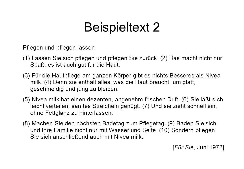 Beispieltext 2 Pflegen und pflegen lassen (1) Lassen Sie sich pflegen und pflegen Sie zurück.
