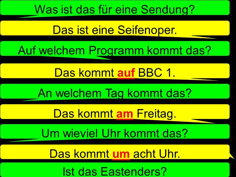 Ein Ratespiel: A: denkt an eine Sendung im Fernsehen B: muss die Sendung raten! A thinks of a programme on TV B has to guess the programme