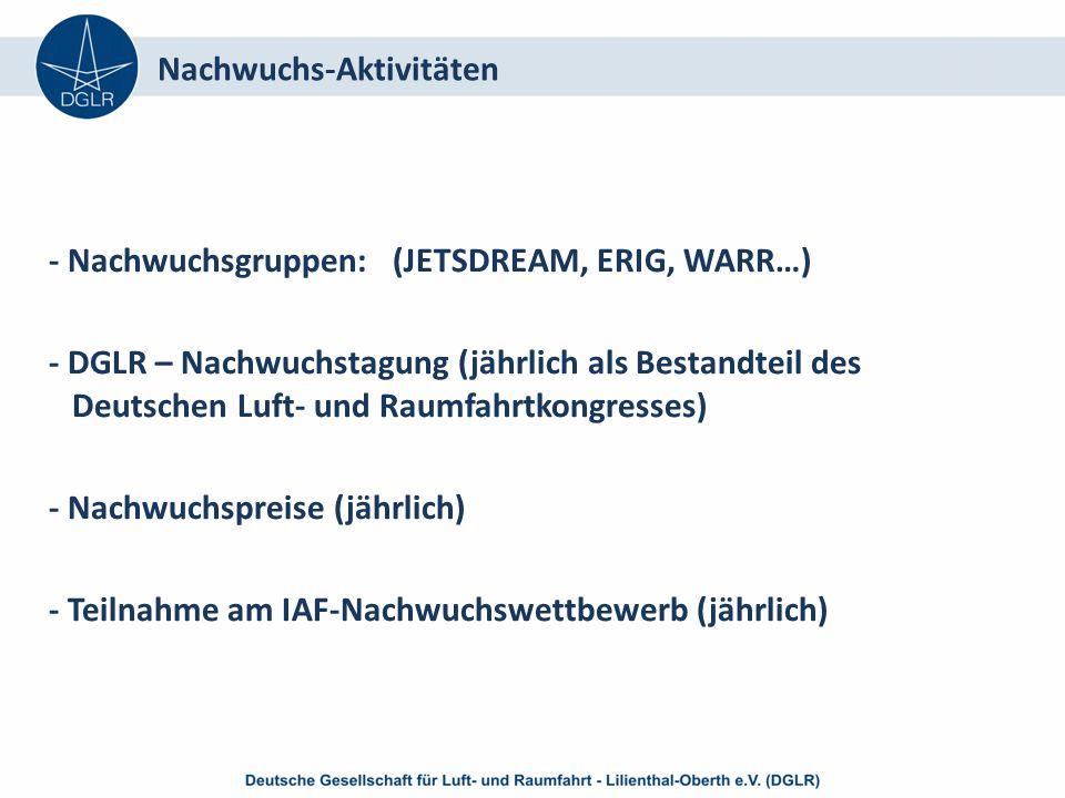 - Nachwuchsgruppen: (JETSDREAM, ERIG, WARR…) - DGLR – Nachwuchstagung (jährlich als Bestandteil des Deutschen Luft- und Raumfahrtkongresses) - Nachwuchspreise (jährlich) - Teilnahme am IAF-Nachwuchswettbewerb (jährlich) Nachwuchs-Aktivitäten