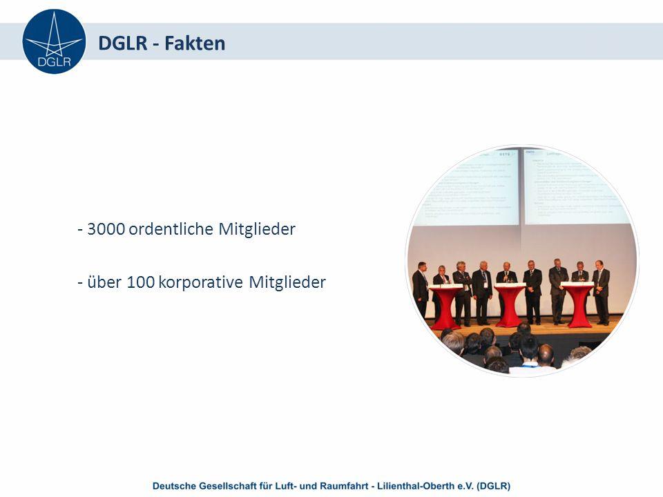 DGLR - Fakten - 3000 ordentliche Mitglieder - über 100 korporative Mitglieder