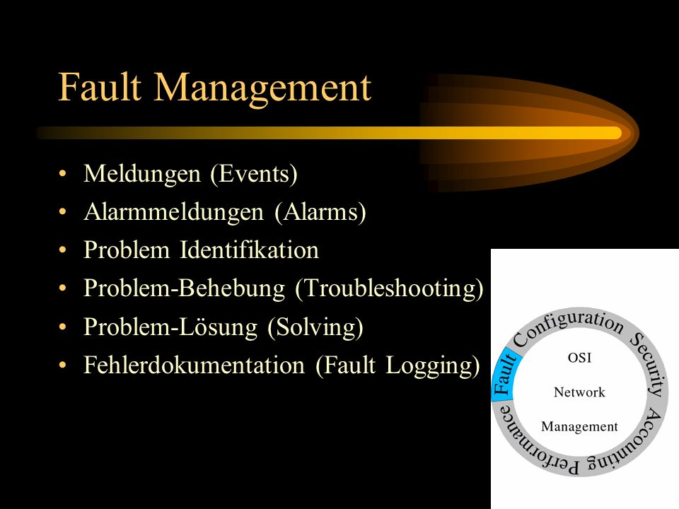 Fault Management Meldungen (Events) Alarmmeldungen (Alarms) Problem Identifikation Problem-Behebung (Troubleshooting) Problem-Lösung (Solving) Fehlerd