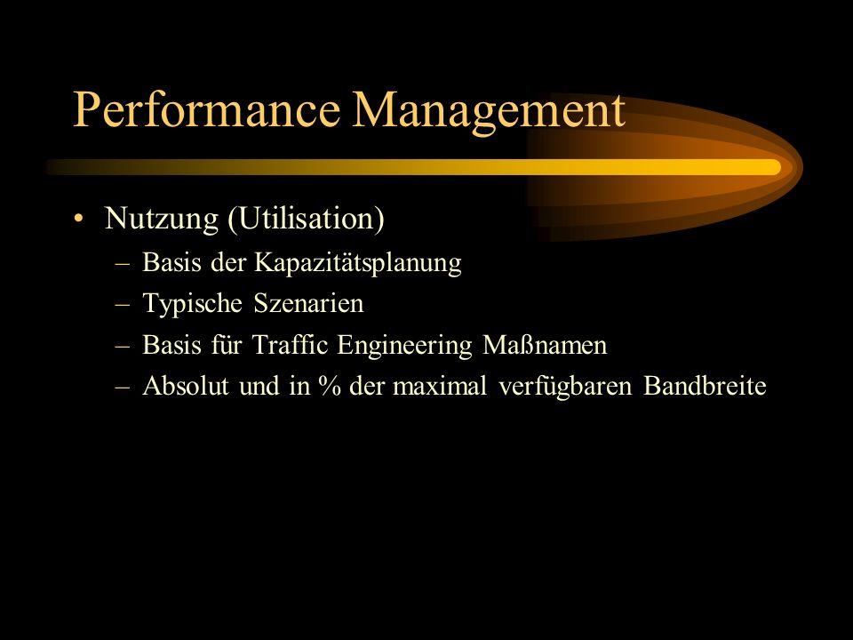 Performance Management Nutzung (Utilisation) –Basis der Kapazitätsplanung –Typische Szenarien –Basis für Traffic Engineering Maßnamen –Absolut und in % der maximal verfügbaren Bandbreite