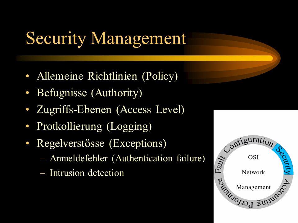 Security Management Allemeine Richtlinien (Policy) Befugnisse (Authority) Zugriffs-Ebenen (Access Level) Protkollierung (Logging) Regelverstösse (Exce
