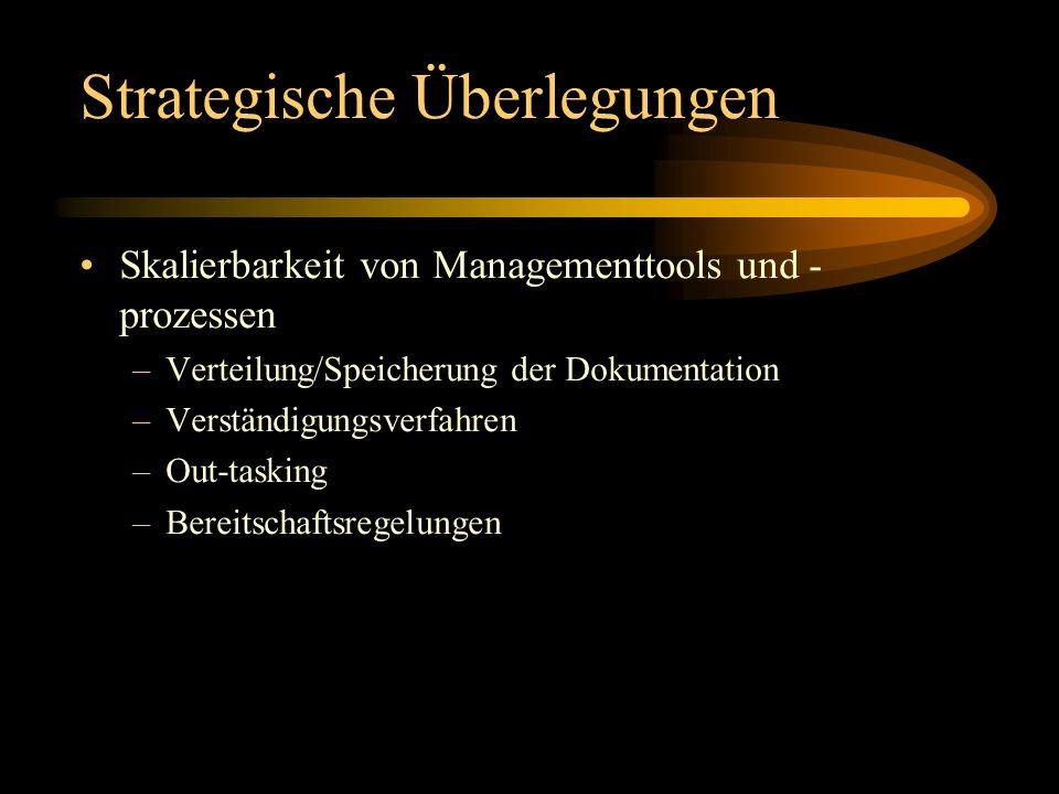 Strategische Überlegungen Skalierbarkeit von Managementtools und - prozessen –Verteilung/Speicherung der Dokumentation –Verständigungsverfahren –Out-t