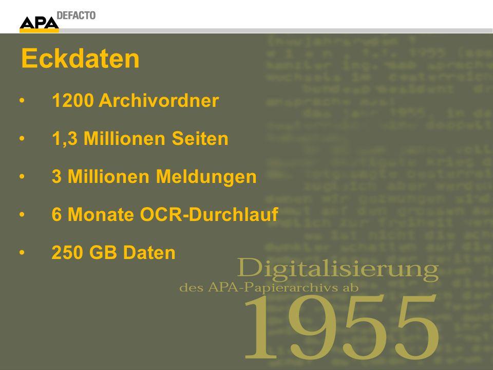 1200 Archivordner 1,3 Millionen Seiten 3 Millionen Meldungen 6 Monate OCR-Durchlauf 250 GB Daten Eckdaten