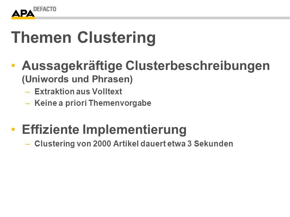 Themen Clustering Aussagekräftige Clusterbeschreibungen (Uniwords und Phrasen) –Extraktion aus Volltext –Keine a priori Themenvorgabe Effiziente Implementierung –Clustering von 2000 Artikel dauert etwa 3 Sekunden