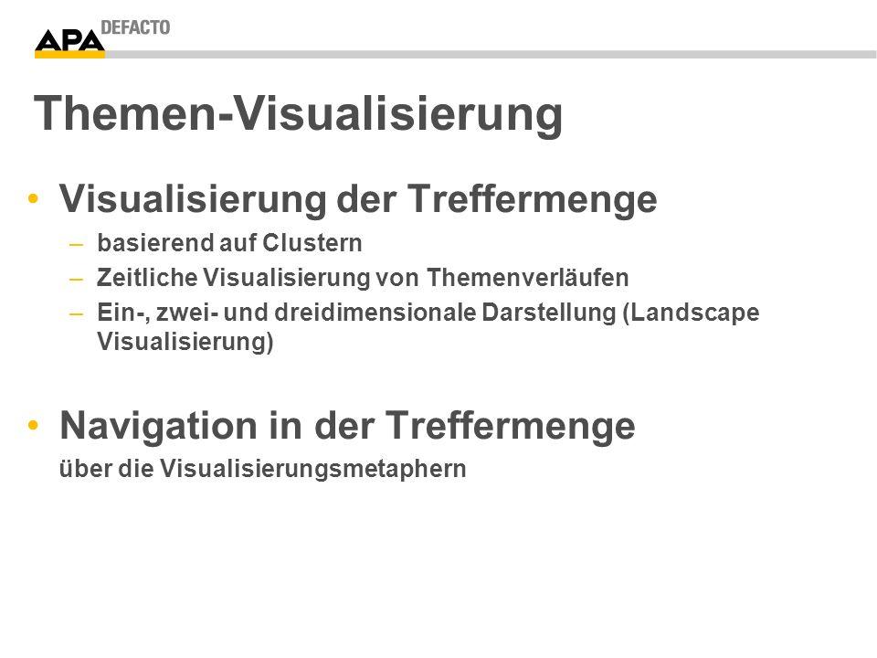 Themen-Visualisierung Visualisierung der Treffermenge –basierend auf Clustern –Zeitliche Visualisierung von Themenverläufen –Ein-, zwei- und dreidimensionale Darstellung (Landscape Visualisierung) Navigation in der Treffermenge über die Visualisierungsmetaphern