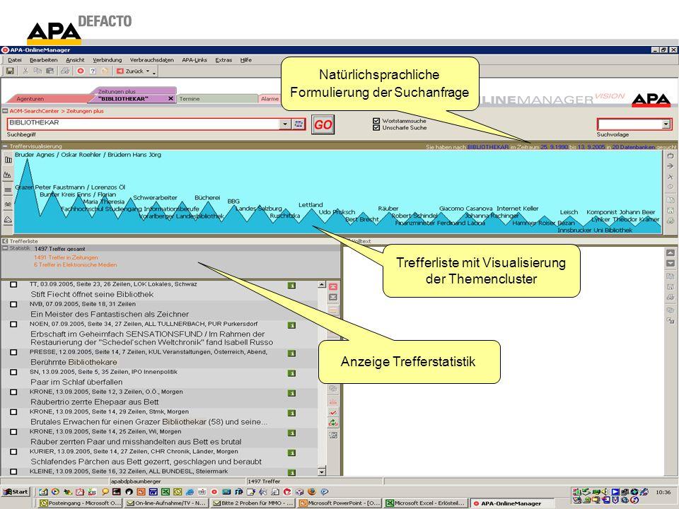 Trefferliste mit Visualisierung der Themencluster Anzeige Trefferstatistik Natürlichsprachliche Formulierung der Suchanfrage