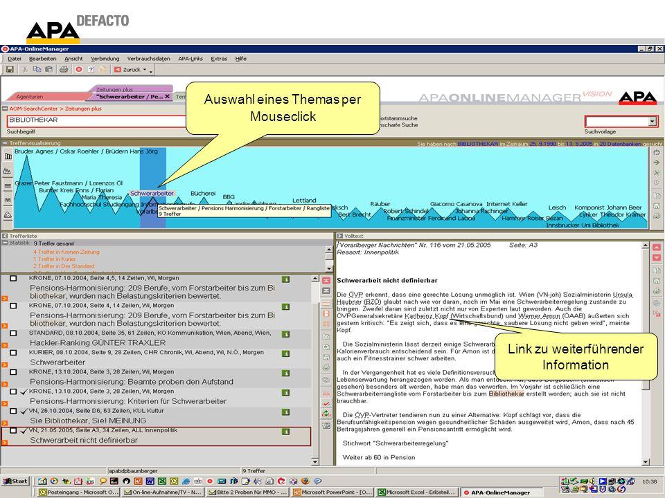 Auswahl eines Themas per Mouseclick Link zu weiterführender Information