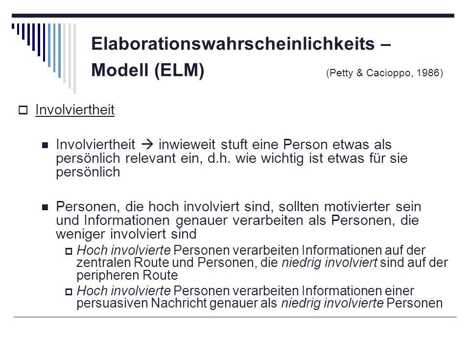 Elaborationswahrscheinlichkeits – Modell (ELM) (Petty & Cacioppo, 1986) Involviertheit Involviertheit inwieweit stuft eine Person etwas als persönlich