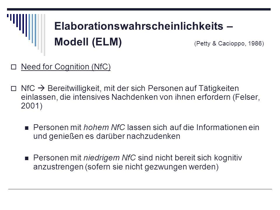 Elaborationswahrscheinlichkeits – Modell (ELM) (Petty & Cacioppo, 1986) Need for Cognition (NfC) NfC Bereitwilligkeit, mit der sich Personen auf Tätig