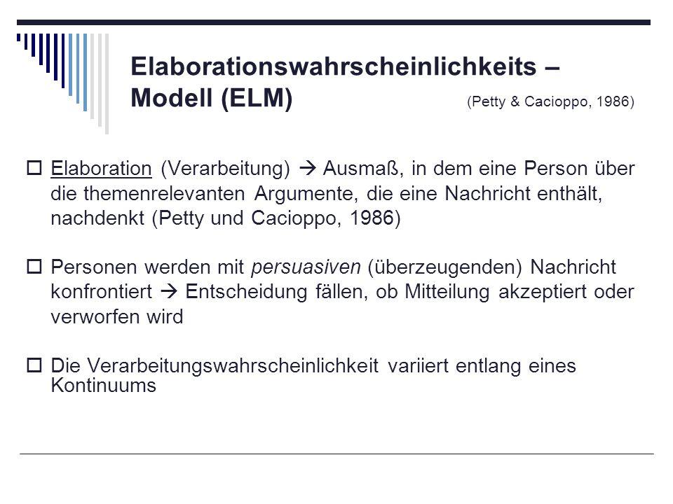 Elaborationswahrscheinlichkeits – Modell (ELM) (Petty & Cacioppo, 1986) Elaboration (Verarbeitung) Ausmaß, in dem eine Person über die themenrelevante