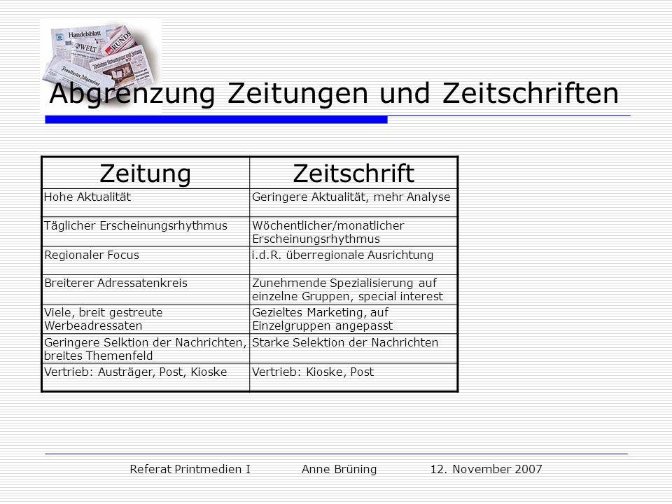 Referat Printmedien I Anne Brüning 12. November 2007 Abgrenzung Zeitungen und Zeitschriften ZeitungZeitschrift Hohe AktualitätGeringere Aktualität, me