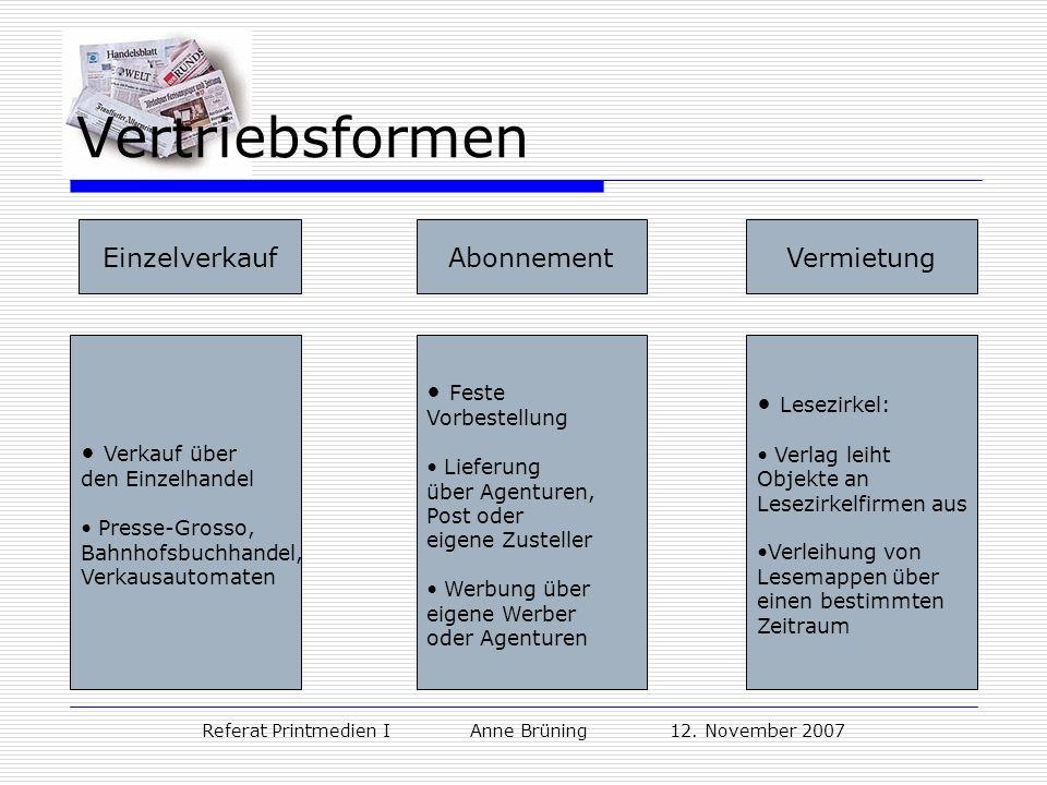 Referat Printmedien I Anne Brüning 12. November 2007 Vertriebsformen AbonnementEinzelverkaufVermietung Feste Vorbestellung Lieferung über Agenturen, P