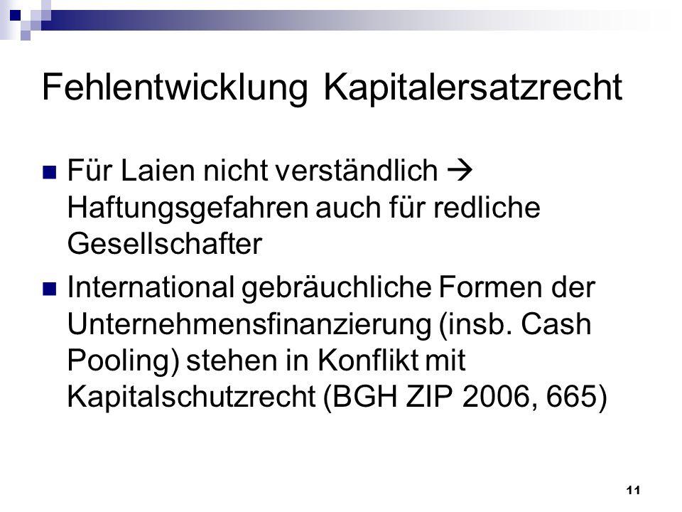 11 Fehlentwicklung Kapitalersatzrecht Für Laien nicht verständlich Haftungsgefahren auch für redliche Gesellschafter International gebräuchliche Forme