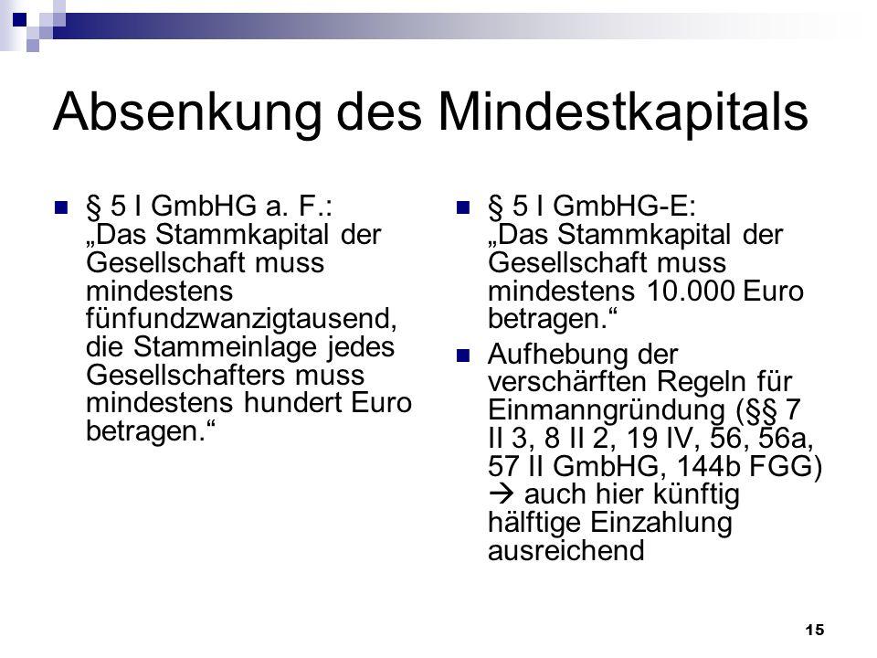 15 Absenkung des Mindestkapitals § 5 I GmbHG a. F.: Das Stammkapital der Gesellschaft muss mindestens fünfundzwanzigtausend, die Stammeinlage jedes Ge