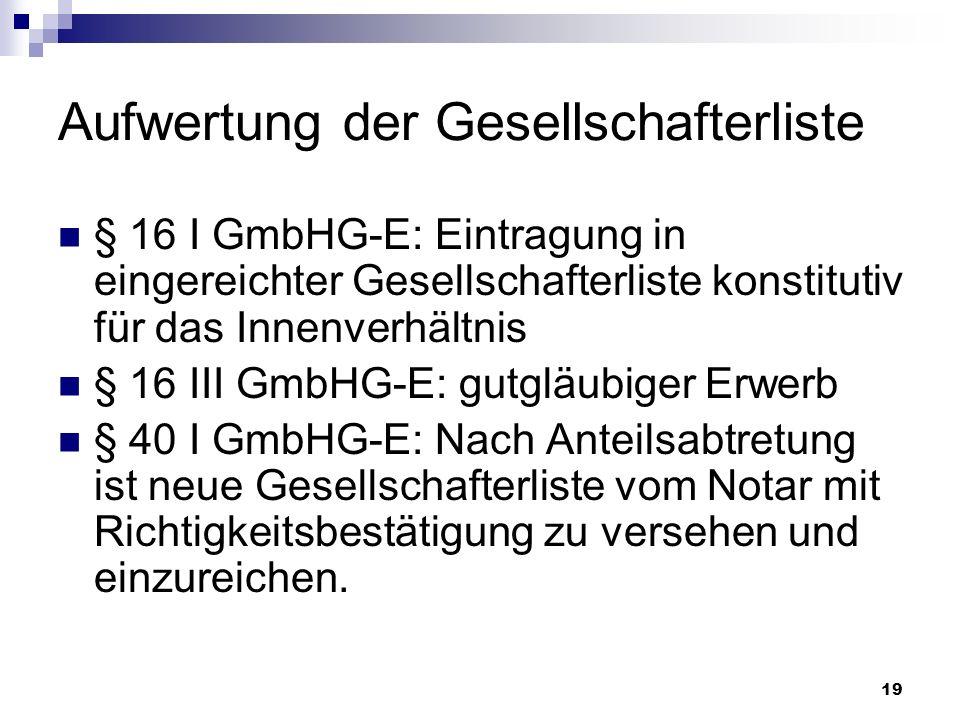 19 Aufwertung der Gesellschafterliste § 16 I GmbHG-E: Eintragung in eingereichter Gesellschafterliste konstitutiv für das Innenverhältnis § 16 III Gmb