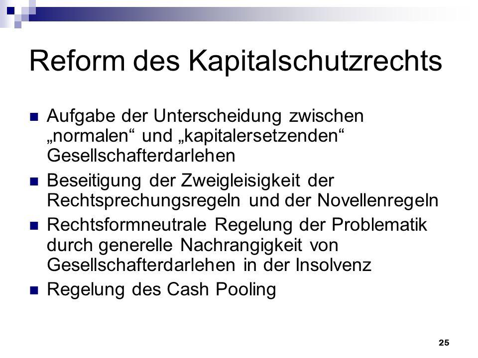 25 Reform des Kapitalschutzrechts Aufgabe der Unterscheidung zwischen normalen und kapitalersetzenden Gesellschafterdarlehen Beseitigung der Zweigleis
